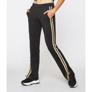 Pam & Gela Gold Striped Track Pants Black